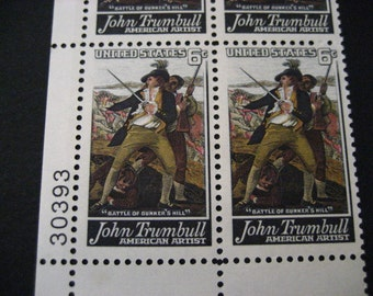 1968 Scott No 1361  Battle Bunker Hill John Trumbull US Postage Stamps Mint Block 4~6c MNH~OG