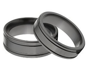 His and Her's Matching Ring Set, Black Zirconium Rings: BZ-6F2SG - BZ-8F2SG