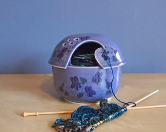 yarn bowl with handpainted violets in Lavender