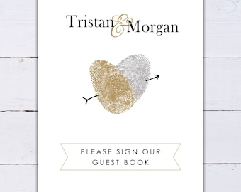 Please Sign Our Guestbook Sign Wedding Guest Book ThumbPrint Heart Custom Personalized Fingerprint