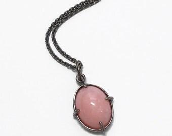Pink Peruvian Opal Minimal Charm Pendant Oxidized Silver
