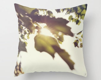 Photo pillow cover, sun through the leaves decorative pillow, green and white pillow, New England summer leaves pillow, living room decor