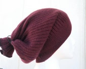 Burgundy Red 100% Cashmere Dreadlock Tam Tube Hat - Dread Wrap -  Men or Women-  by Tejidos- an upcycled sweater accessory