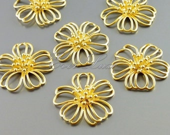 2 Large cosmos flower blossom pendants in gold plating for making jewelry earrings bracelets necklace 1600-MG (matte gold, 2 pieces)