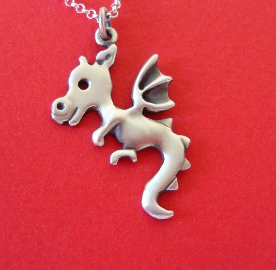Dragon Necklace  Jewelry sterling silver Teen Kids Jewelry Girl Boy Woman BF gift  Kawaii Chinese  Jewelry red  charm
