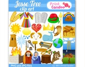 Jesse Tree Clip Art - Digital Clip Art - Personal Use Only - Christmas ornaments advent holiday