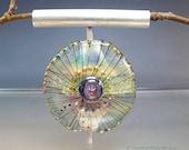 Lampwork Pendant Necklace, handmade glass bead, silver, chain, glassartist Manuela Wutschke