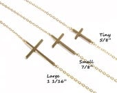 Sideways Cross Necklace, Kelly Ripa, sterling silver or Gold filled, As seen on Meg Ciaoobellaxo from Youtube