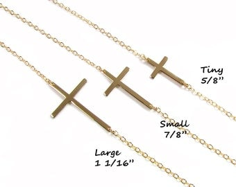Sideways Cross Necklace, Kelly Ripa, sterling silver, Gold filled & Rose Gold Filled, As seen on Meg Ciaoobellaxo from Youtube