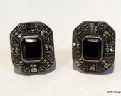 Reserved for Lucy Judith Jack Earrings Onyx Marcasites