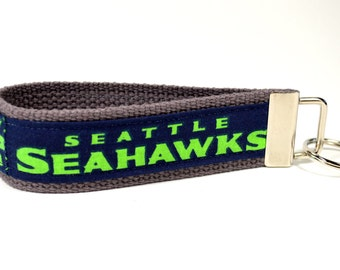 Seattle Seahawks fabric key fob keychain wristlet green and blue