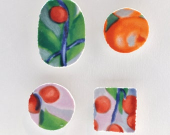 Broken China Magnet - Upcycled - Recycled Plate - Fruit - Set of four