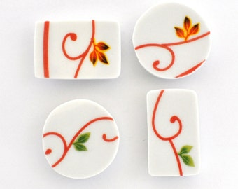 Broken China Magnet - Upcycled - Recycled Plate - Red Swirls - Set of four