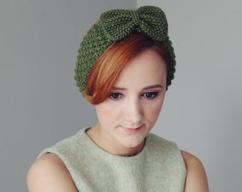 Green Bow Knitted Headband
