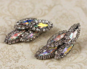 Vintage Clear Aurora Borealis Rhinestone Earrings