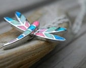 Sterling Silver Coral, Aqua, Blue Colored Fire Opal Dragonfly Pendant