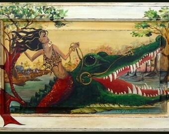 "VAMPIRE MERMAID Riding an ALLIGATOR  **  11"" x17"" Print of Original Acrylic on Canvas"