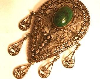Beautiful Sterling Silver Filigree Green Elite stone Vintage Antique Brooch Pendant