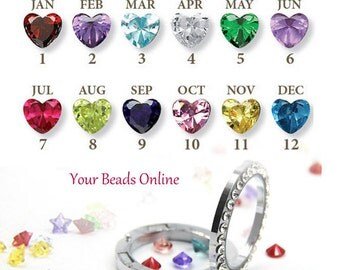 Floating Birthstone Crystal Heart Charms 5mm - Birthstones for your Living Memory or Origami Owl Locket