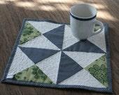 Navy, Sage Green, and White Yankee Puzzle Pinwheel Patchwork Mug Rug or Coaster