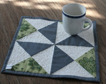 Patchwork Mug Rug or Coaster - Navy, Sage Green, and White Yankee Puzzle Pinwheel