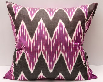 20x20 purple ikat pillow cover, purple coffee, ikat pillow cover, zig zag, chevron, ikat, purple pillow, purple cushion, purple, coffee