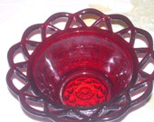 Cranberry Glass Hob Nail basket Bowl