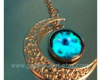 Silver Plated Glow In The Dark Moon and Galaxy Statement Necklace UV