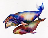 Watercolor Whales - ORIGINAL Watercolor  Bowhead Whales Right Whale