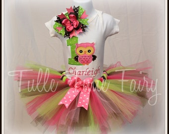Baby's First 1st birthday Owl theme Onesie bodysuit  pink lime brown tutu dress 6-12m , 12 months 18 months