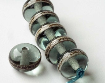 Silver Grey Spacer Beads, Handmade Lampwork To Order