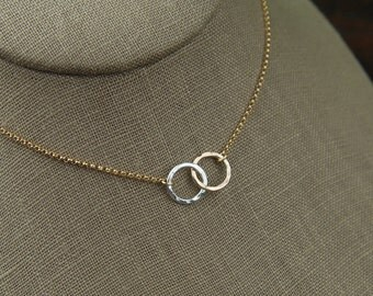 Small sterling silver and gold filled hammered circle links and gold filled necklace, hammered rings, mixed metals, gold and silver