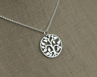 Tree of life pendant necklace in sterling silver, family tree, silver tree charm, sterling silver tree, silver necklace, tree jewelry