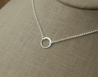 Tiny silver circle link and sterling silver necklace, tiny circle necklace, infinity necklace, simple silver necklace, sterling silver ring
