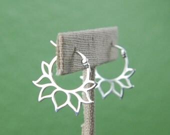 Lotus petal hoop earrings in sterling silver, silver hoops, latching, lotus shape, zen, silver hoop earrings