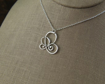 Scroll pendant necklace in sterling silver, curls, sterling silver scroll, swirl pendant, sterling silver necklace