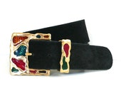 Vintage Suede Leather Belt with Stained Glass Buckle // The Limited
