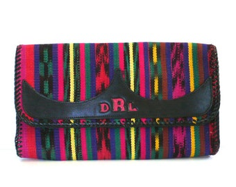 Vintage Multicolored Woven Clutch with Tooled DRL Initials