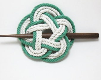 Sailor Knot Hair Stick Barrette in Green and White