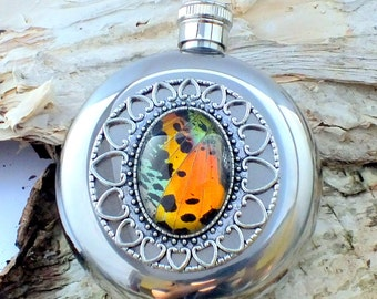Sunset Moth Wing Hip Flask - Real insect wing on a Stainless Steel 5oz flask