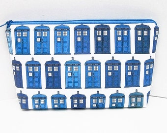 Zippered Make Up Bag, Police Box Cosmetic Pouch, Blue Time Machine