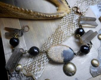 CANTRIP. Black Onyx, Rough Raw Smoky Quartz and Jasper Ellipse Gypsy bracelet. OOAK