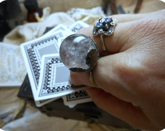 THE ORACLE. Witch's Crystal Ball Ring. Genuine Polished Quartz Crystal Sphere. Soothsayer's ring. Gypsy Boho.