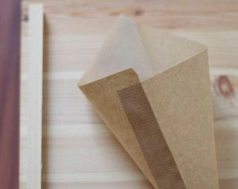 Party paper candy cones, 35 pcs (18-24cm) Kraft wedding favor bag, brown paper popcorn cone, gift cone, peanut bag