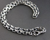 Mens Heavy Silver Chain Necklace, Oxidized