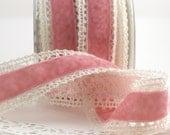 "Pink Velvet & Lace Crochet Ribbon, 1.5"" wide, Crochet Lace Ribbon, Pink Velvet Ribbon, Velvet and Lace, Gift Ribbon, Baby Girl, Chokers"