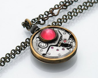 Steampunk Necklace / Vintage Watch Mechanism / Solid Gold Back / Cherry Glass Cabochon / Torch Soldered - 28 Inch Long Chain Necklace
