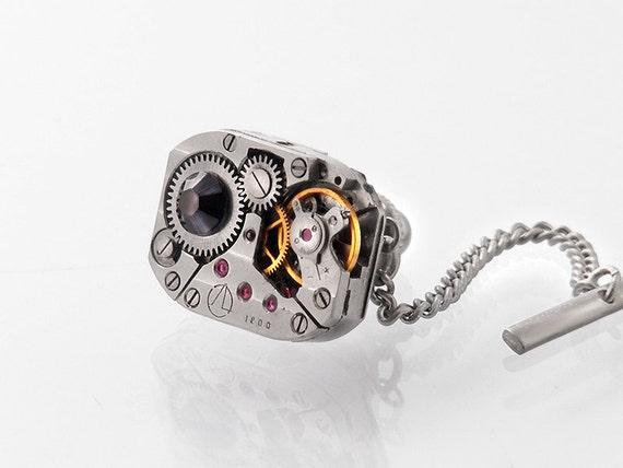 Steampunk Tie Tack | Black Crystal & Vintage Watch Mechanism | Groom or Groomsman's Gift - Industrial Tie Pin | Torch Soldered
