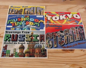 Retro Postcards - Set of 5 cards - Geekery and Nerdery
