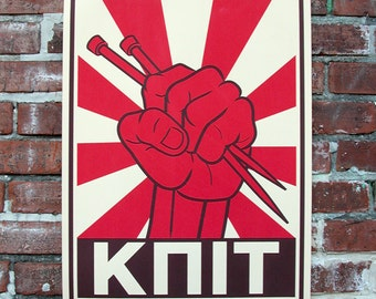 Knit Poster -  Retro Comrade Colors - Fist Holding Knitting Needles